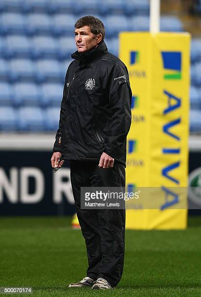 Rob Baxter Director of Rugby of Exeter Chiefs looks on during the Aviva Premiership match between Wasps and Exeter Chiefs at the Ricoh Arena on...