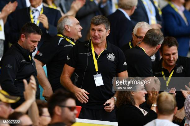 Rob Baxter head coach of Exeter Chiefs celebrates after the Aviva Premiership Final between Wasps and Exeter Chiefs at Twickenham Stadium on May 27...