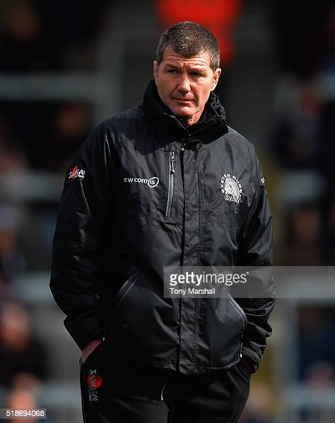 Rob Baxter Head Coach of Exeter Chiefs during the Aviva Premiership match between Exeter Chiefs and Worcester Warriors at Sandy Park on April 2 2016...