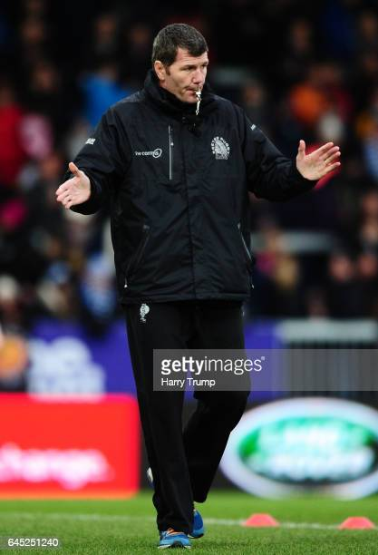 Rob Baxter Head Coach of Exeter Chiefs during the Aviva Premiership match between Exeter Chiefs and Newcastle Falcons at Sandy Park on February 25...