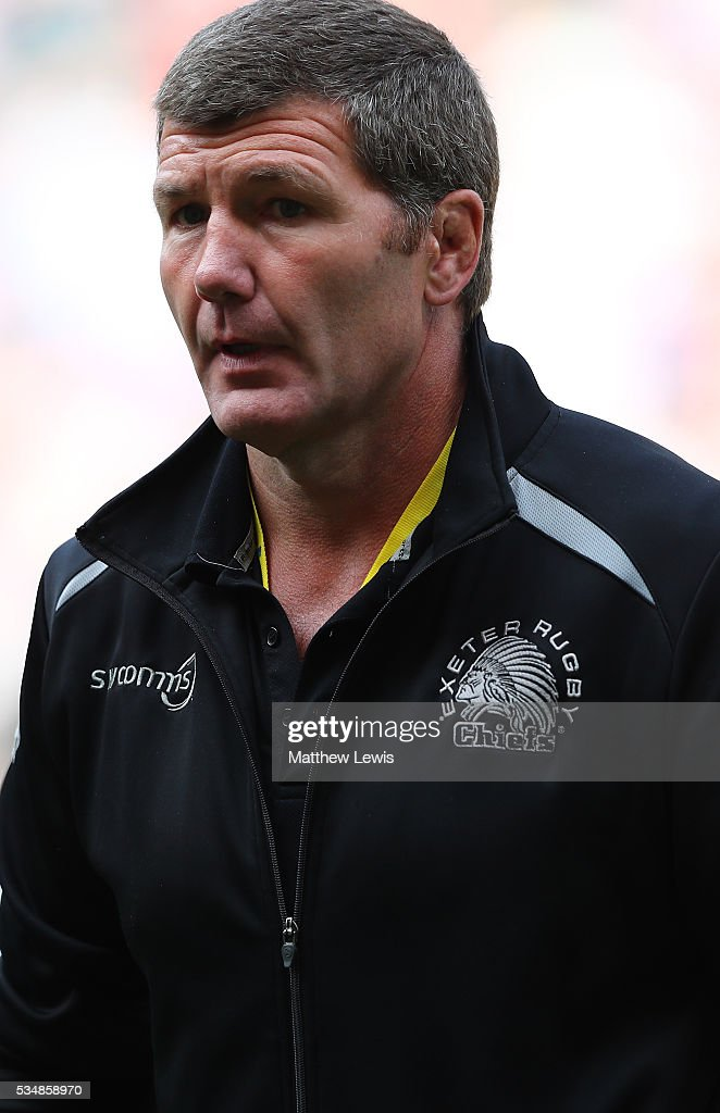 <a gi-track='captionPersonalityLinkClicked' href=/galleries/search?phrase=Rob+Baxter&family=editorial&specificpeople=6991195 ng-click='$event.stopPropagation()'>Rob Baxter</a>, Head Coach of Exeter Chiefs is dejected after hs side's defeat in the Aviva Premiership final match between Saracens and Exeter Chiefs at Twickenham Stadium on May 28, 2016 in London, England.