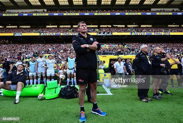 Rob Baxter Head Coach of Exeter Chiefs looks dejected at the ceremony after the Aviva Premiership final match between Saracens and Exeter Chiefs at...