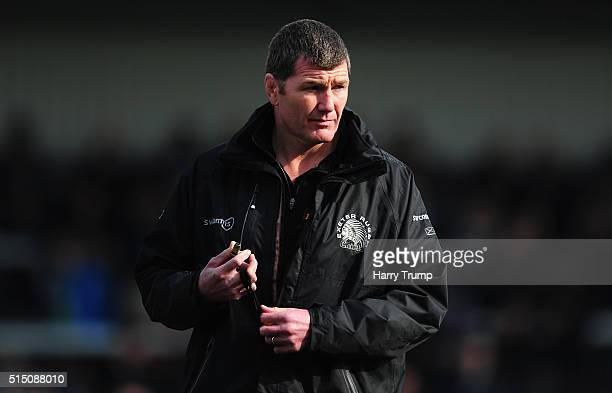 Rob Baxter Head Coach of Exeter Chiefs looks on during the Aviva Premiership match between Exeter Chiefs and Newcastle Falcons at Sandy Park on March...