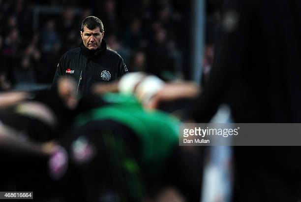 Rob Baxter Head Coach of Exeter Chiefs looks on prior the European Rugby Challenge Cup match between Exeter Chiefs and Newcastle Falcons at Sandy...