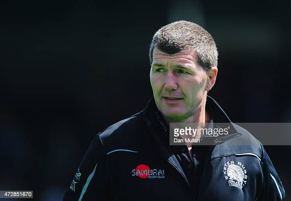 Rob Baxter head coach of Exeter Chiefs looks on prior to the Aviva Premiership match between Saracens and Exeter Chiefs at Allianz Park on May 10...