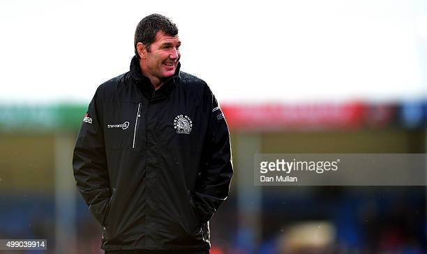 Rob Baxter Head Coach of Exeter Chiefs looks on prior to the Aviva Premiership match between Exeter Chiefs and Harlequins at Sandy Park on November...