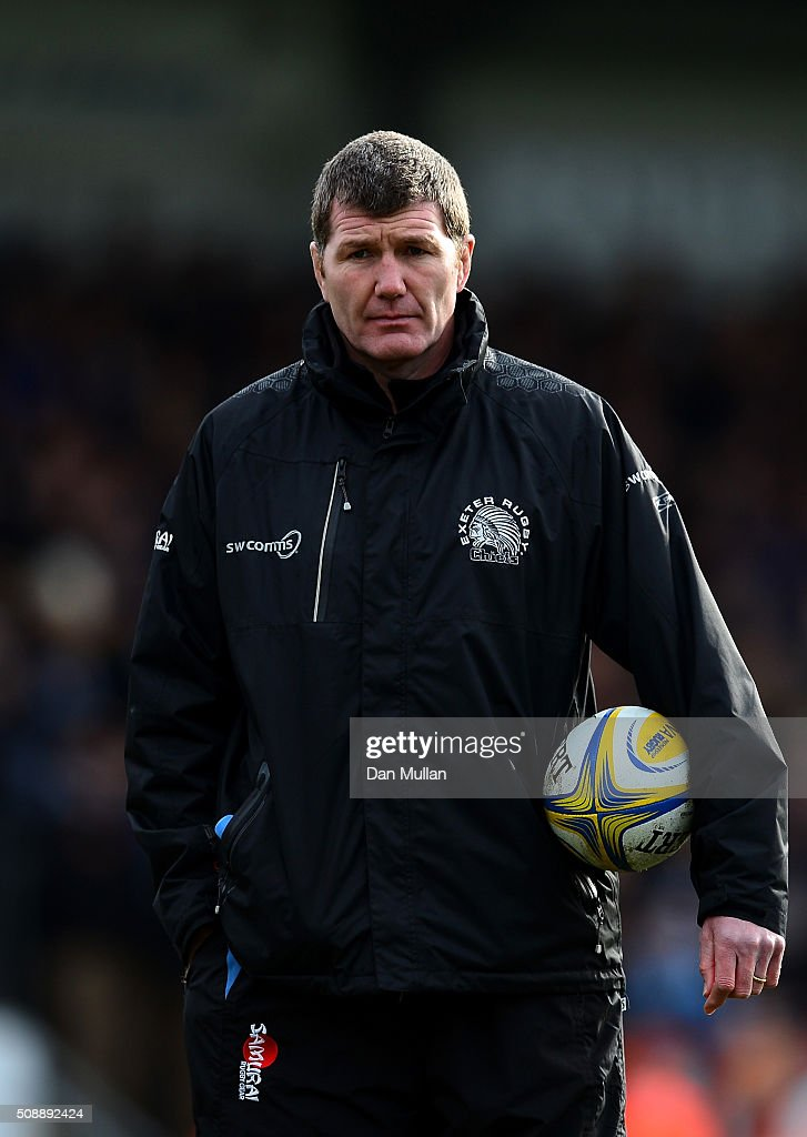 <a gi-track='captionPersonalityLinkClicked' href=/galleries/search?phrase=Rob+Baxter&family=editorial&specificpeople=6991195 ng-click='$event.stopPropagation()'>Rob Baxter</a>, Head Coach of Exeter Chiefs looks on prior to the Aviva Premiership match between Exeter Chiefs and Saracens at Sandy Park on February 7, 2016 in Exeter, England.