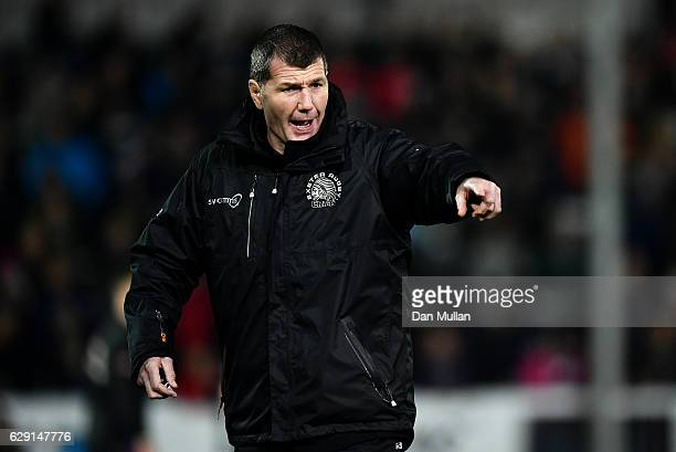 Rob Baxter Head Coach of Exeter Chiefs looks on prior to the European Rugby Champions Cup match between Exeter Chiefs and Bordeaux Begles at Sandy...
