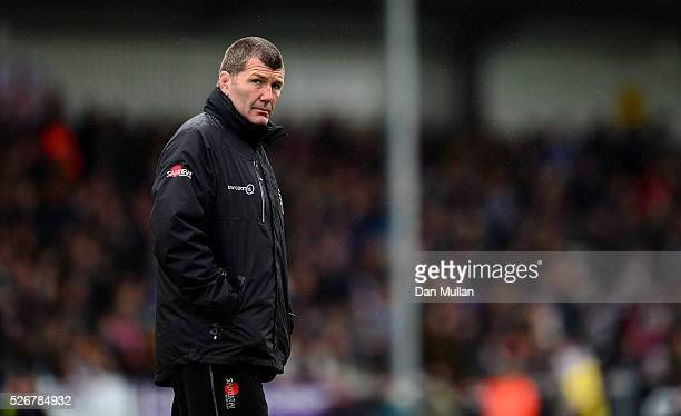 Rob Baxter Head Coach of Exeter Chiefs looks on priror to the Aviva Premiership match between Exeter Chiefs and Wasps at Sandy Park on May 01 2016 in...