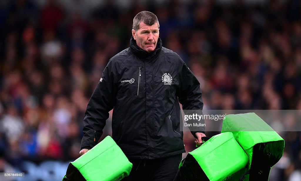 <a gi-track='captionPersonalityLinkClicked' href=/galleries/search?phrase=Rob+Baxter&family=editorial&specificpeople=6991195 ng-click='$event.stopPropagation()'>Rob Baxter</a>, Head Coach of Exeter Chiefs looks on priror to the Aviva Premiership match between Exeter Chiefs and Wasps at Sandy Park on May 01, 2016 in Exeter, England.
