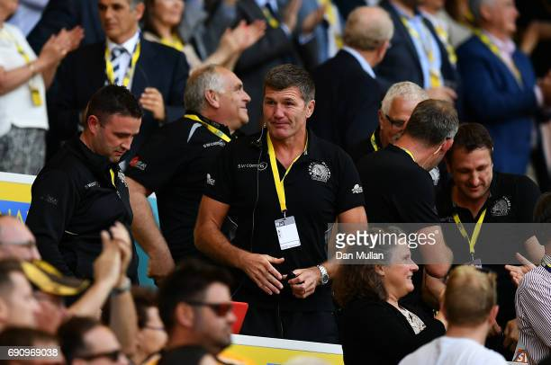 Rob Baxter Head Coach of Exeter Chiefs reacts at the final whistle during the Aviva Premiership Final between Wasps and Exeter Chiefs at Twickenham...