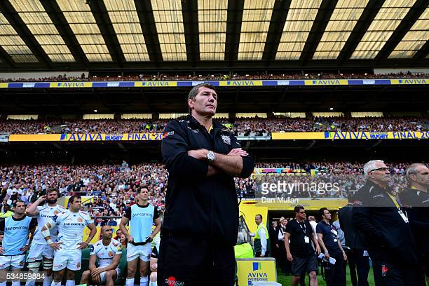 Rob Baxter Head Coach of Exeter Chiefs shows his dejection at the ceremony after the Aviva Premiership final match between Saracens and Exeter Chiefs...