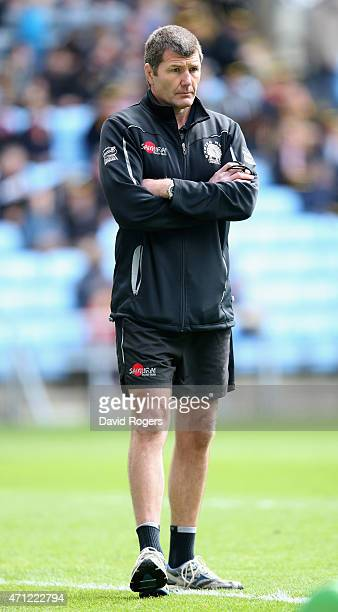 Rob Baxter the Exeter Chiefs director of rugby looks on during the Aviva Premiership match between Wasps and Exeter Chiefs at the Ricoh Arena on...