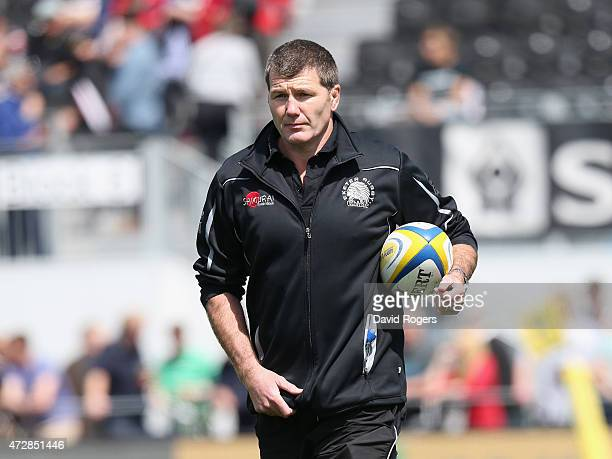 Rob Baxter the Exeter Chiefs director of rugby looks on during the Aviva Premiership match between Saracens and Exeter Chiefs at Allianz Park on May...