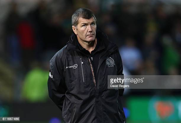 Rob Baxter the Exeter director of rugby looks on during the Aviva Premiership match between Northampton Saints and Exeter Chiefs at Franklin's...