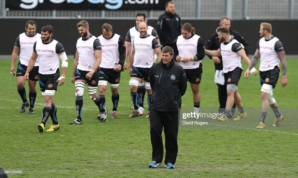 <a gi-track='captionPersonalityLinkClicked' href=/galleries/search?phrase=Rob+Baxter&family=editorial&specificpeople=6991195 ng-click='$event.stopPropagation()'>Rob Baxter</a>, the Exeter director of rugby looks on during the Exeter Chiefs training session held at Sandy Park on May 25, 2016 in Exeter, England.