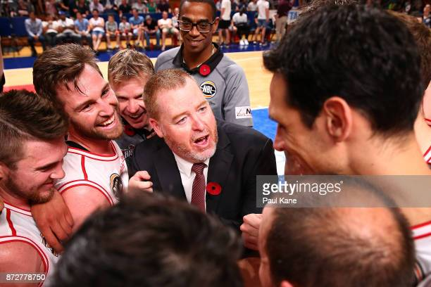 Rob Beveridge coach of the Hawks addresses his players after winning the round six NBL match between the Adelaide 36ers and the Illawarra Hawks at...