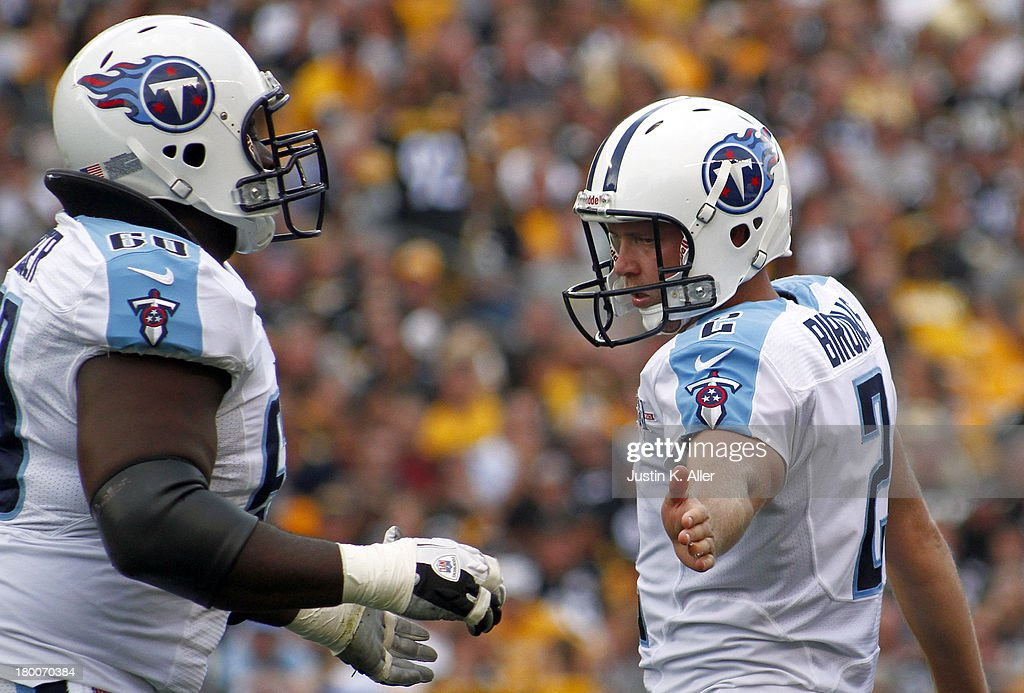 <a gi-track='captionPersonalityLinkClicked' href=/galleries/search?phrase=Rob+Bironas&family=editorial&specificpeople=758164 ng-click='$event.stopPropagation()'>Rob Bironas</a> #2 of the Tennessee Titans celebrates after kicking a field goal in the second half against the Pittsburgh Steelers during the game on September 8, 2013 at Heinz Field in Pittsburgh, Pennsylvania. The Titans defeated the Steelers 16-9.