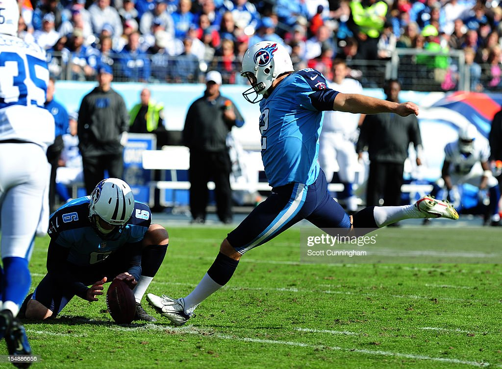 <a gi-track='captionPersonalityLinkClicked' href=/galleries/search?phrase=Rob+Bironas&family=editorial&specificpeople=758164 ng-click='$event.stopPropagation()'>Rob Bironas</a> #2 of the Tennessee Titans kicks a field goal against the Indianapolis Colts at LP Field on October 28, 2012 in Nashville, Tennessee.