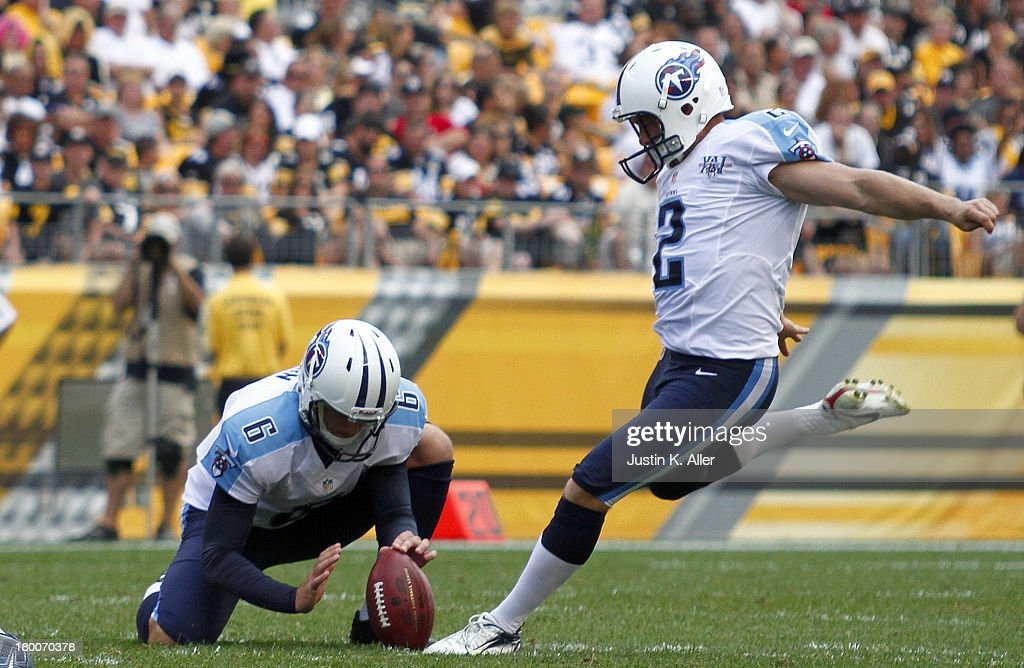<a gi-track='captionPersonalityLinkClicked' href=/galleries/search?phrase=Rob+Bironas&family=editorial&specificpeople=758164 ng-click='$event.stopPropagation()'>Rob Bironas</a> #2 of the Tennessee Titans kicks a field goal in the second half against the Pittsburgh Steelers during the game on September 8, 2013 at Heinz Field in Pittsburgh, Pennsylvania. The Titans defeated the Steelers 16-9.