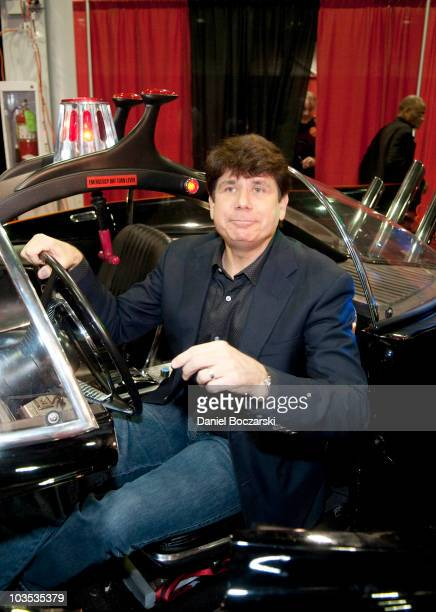 Rob Blagojevich sits in a replica Batmobile at Wizard World Chicago Comic Con at the Donald E Stephens Convention Center on August 21 2010 in Chicago...