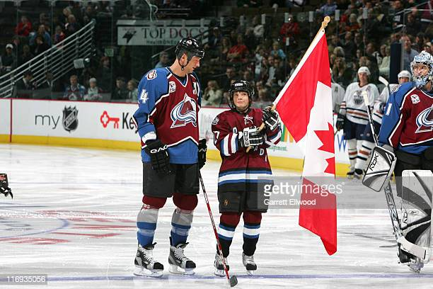Rob Blake of the Colorado Avalanche during a ceremony to acknowledge olympians prior to the game against the Edmonton Oilers on February 7 2006 at...