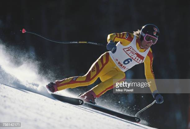 Rob Boyd of Canada skiing in the Men's Downhill event at the International Ski Federation FIS Alpine World Ski Championship on 6 February 1989 in...