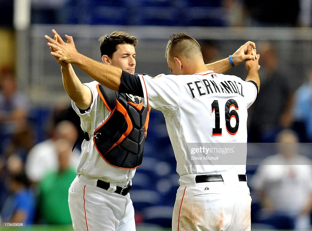 Rob Brantly #19 of the Miami Marlins and teammate Jose Fernandez #16 celebrate a 2-1 win over the Washington Nationals at Marlins Park on July 13, 2013 in Miami, Florida.