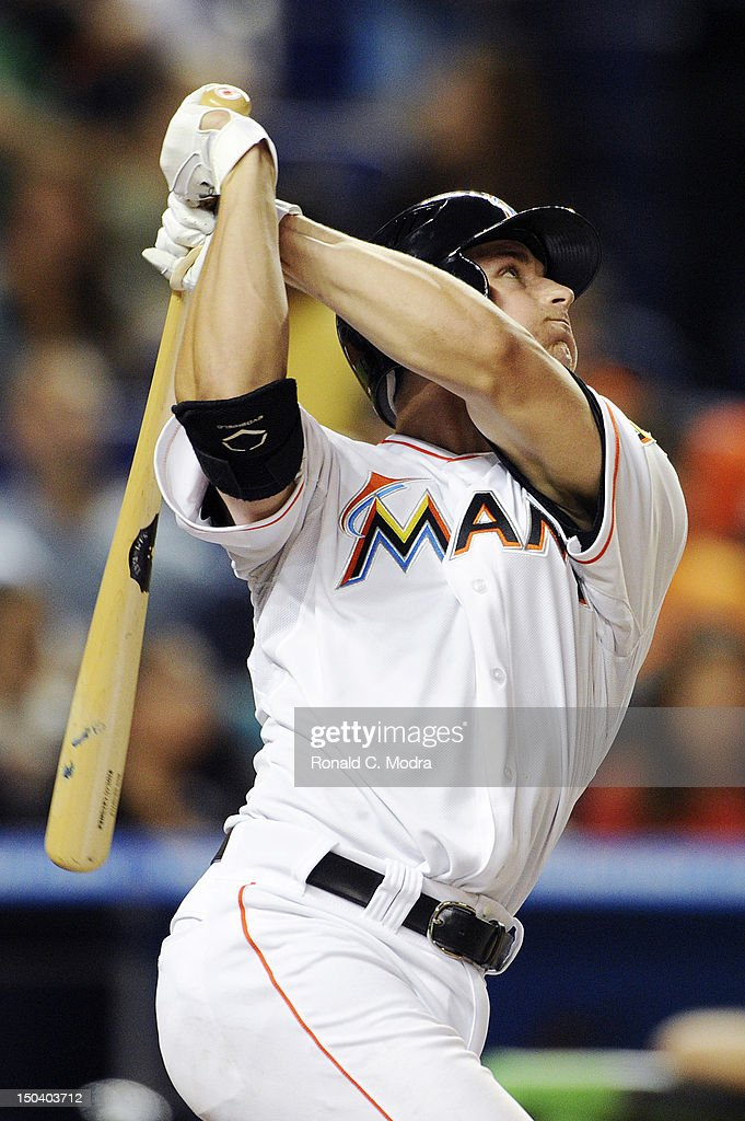 Rob Brantly #19 of the Miami Marlins bats during a MLB game against the Philadelphia Phillies at Marlins Park on August 14, 2012 in Miami, Florida.