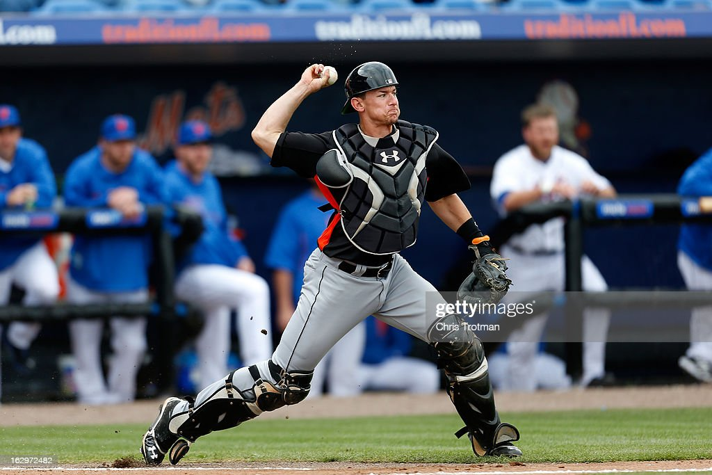 Rob Brantly #19 of the Miami Marlins throws to second base in the game against the New York Mets at Tradition Field on March 2, 2013 in Port St. Lucie, Florida.