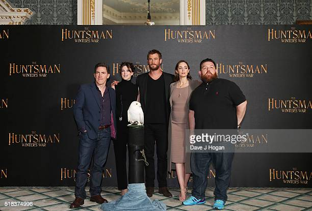 Rob Brydon Alexandra Roach Chris Hemsworth Emily Blunt and Nick Frost attend the photocall for 'The Huntsman Winter's War' at Claridges Hotel on...