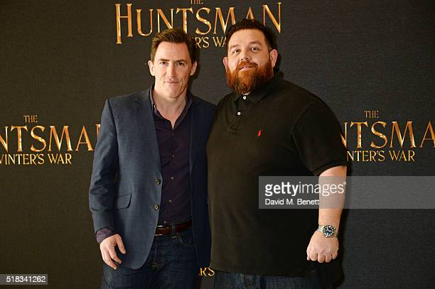 Rob Brydon and Nick Frost pose at a photocall for 'The Huntsman Winter's War' at Claridges Hotel on March 31 2016 in London England