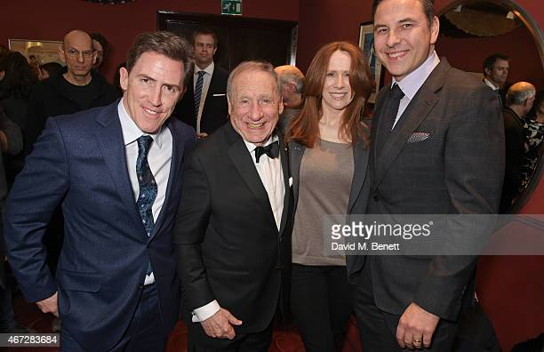 Rob Brydon Mel Brooks Catherine Tate and David Walliams attend a postshow drinks reception following Mel Brooks' first UK solo show 'Mel Brooks Live...