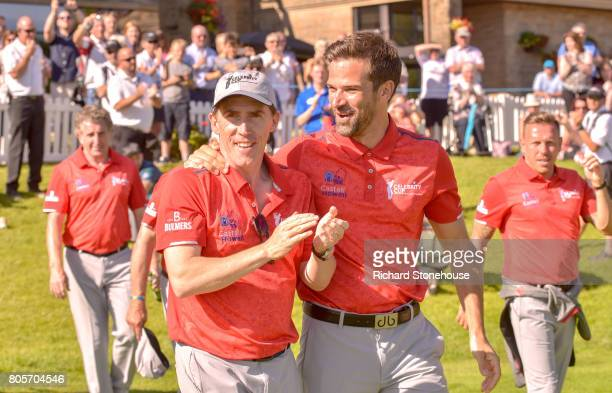 Rob Brydon with team mate Gethin Jones on day two of the Celebrity Cup at Celtic Manor Resort on July 2 2017 in Newport Wales