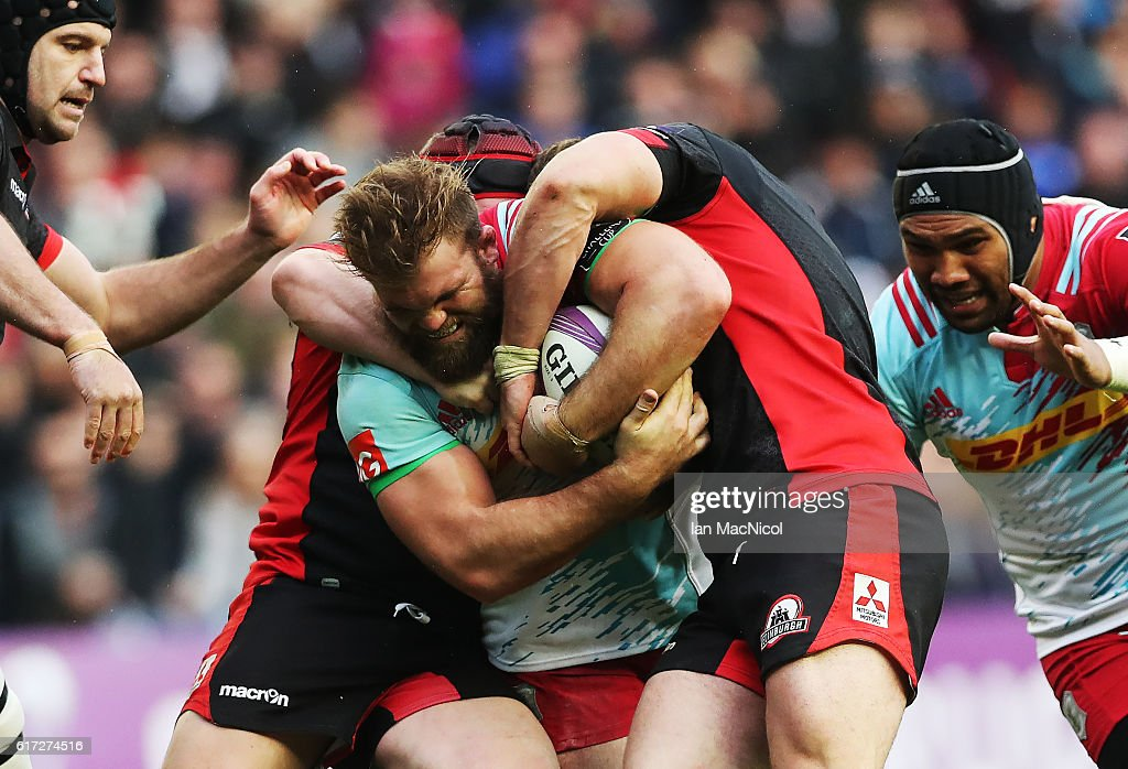 Rob Buchanan of Harlequins drives forward during the European Rugby Challenge Cup match between Edinburgh and Harlequins at Murrayfield Stadium on October 22, 2016 in Edinburgh, United Kingdom.