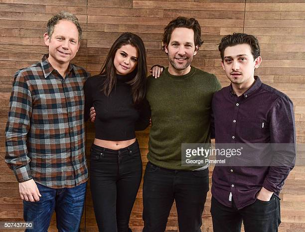Rob Burnett Selena Gomez Paul Rudd and Craig Roberts attend 'The Fundamentals Of Caring' Portraits during the 2016 Sundance Film Festival at Acura...