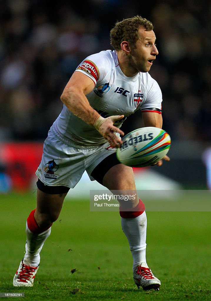 Rob Burrow of England in action during the Rugby League World Cup Group A match at the KC Stadium on November 9, 2013 in Hull, England.