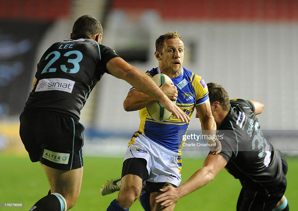Rob Burrow of Leeds Rhinos attacks during the Super League match between London Broncos and Leeds Rhinos at Twickenham Stoop on August 01, 2013 in London, England.