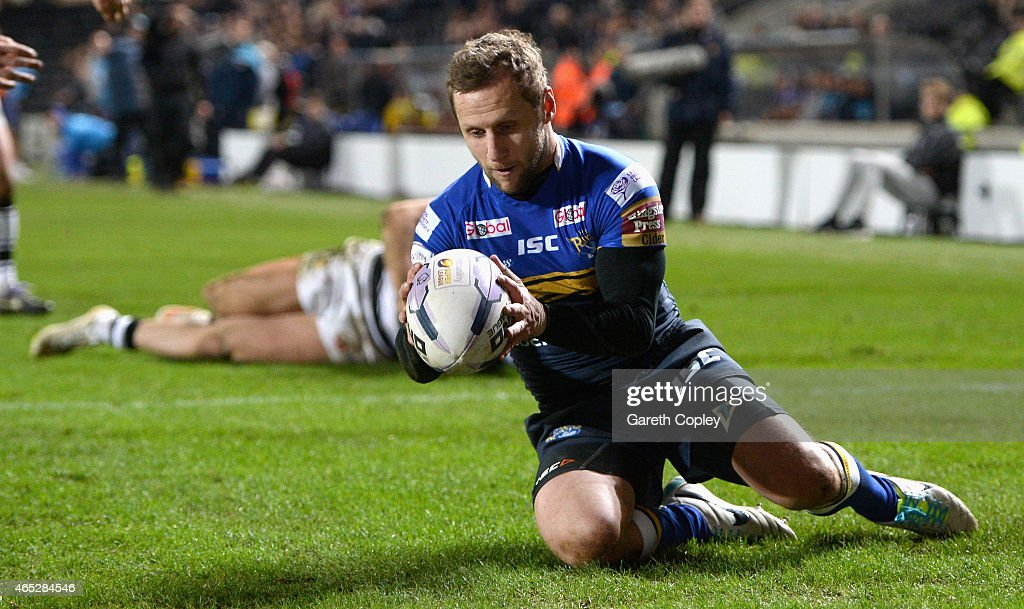Rob Burrow of Leeds Rhinos scores a second half try during the First Utility Super League match between Hull FC and Leeds Rhinos at KC Stadium on March 5, 2015 in Hull, England.