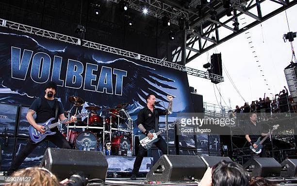 Rob Caggiano Jon Larsen Michael Poulsen and Anders Kjolholm of Volbeat performs during 2013 Rock On The Range at Columbus Crew Stadium on May 19 2013...