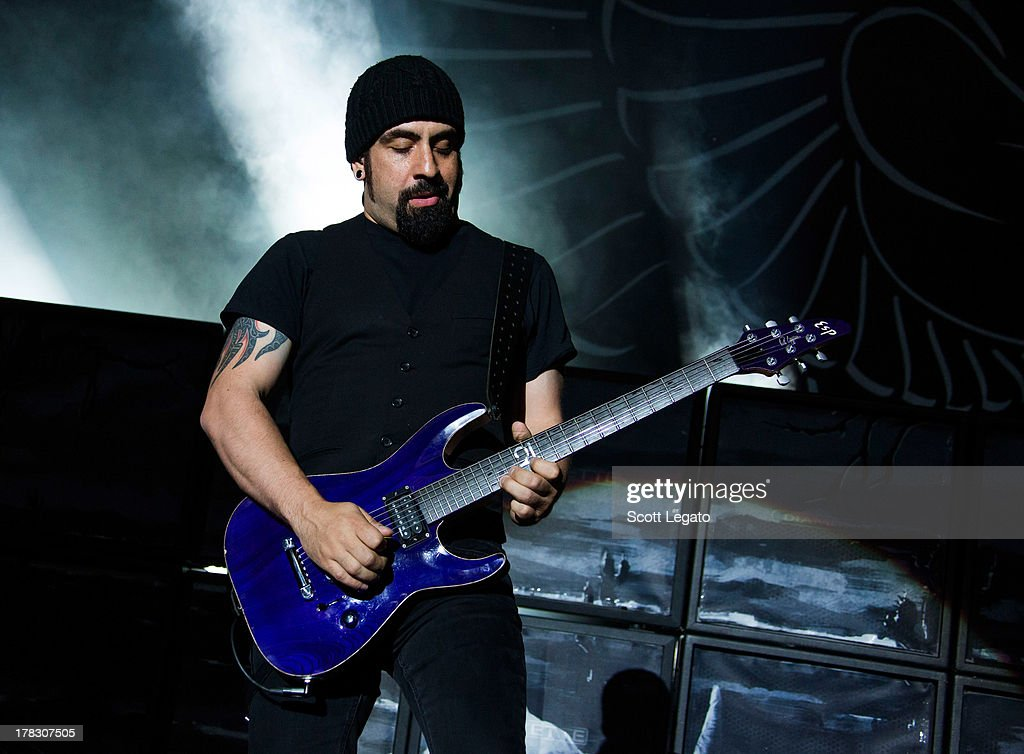 Rob Caggiano of Volbeat performs during the Rock Allegiance Tour at Freedom Hill Amphitheater on August 28, 2013 in Sterling Heights, Michigan.