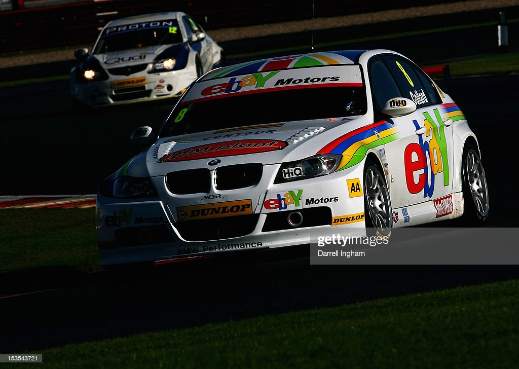 Rob Collard of Great Britain drives the #8 EBAY Motors BMW 320Si during practice for the Dunlop MSA British Touring Car Championship race at the Silverstone Circuit on October 6, 2012 in Towcester, United Kingdom.