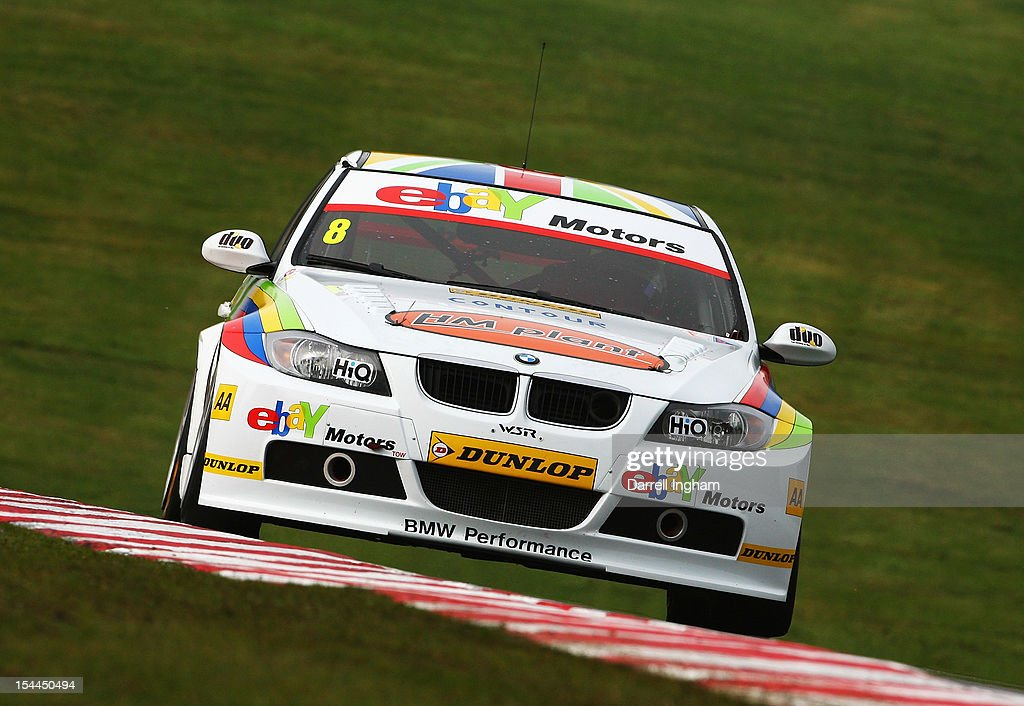 Rob Collard of Great Britain drives the #8 eBay Motors BMW 320si during practice for the Dunlop MSA British Touring Car Championship race at the Brands Hatch Circuit on October 20, 2012 near Longfield, United Kingdom.