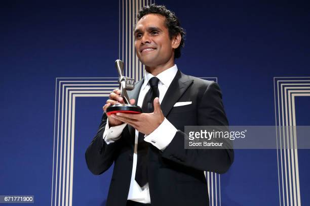 Rob Collins poses with the Logie Award for Best New Talent during the 59th Annual Logie Awards at Crown Palladium on April 23 2017 in Melbourne...