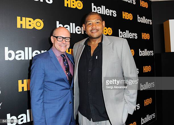 Rob Corddry and Omar Benson Miller attend the HBO Ballers Season 2 Red Carpet Premiere and Reception on July 14 2016 at New World Symphony in Miami...