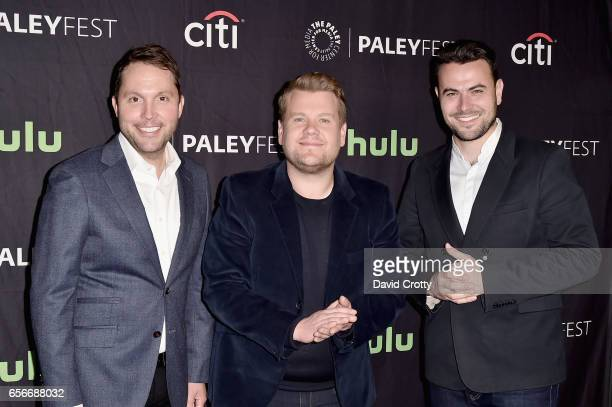 Rob Crabbe James Corden and Ben Winston attend PaleyFest Los Angeles 2017 'An Evening Of Laughs with James Corden and The Late Late Show' at Dolby...