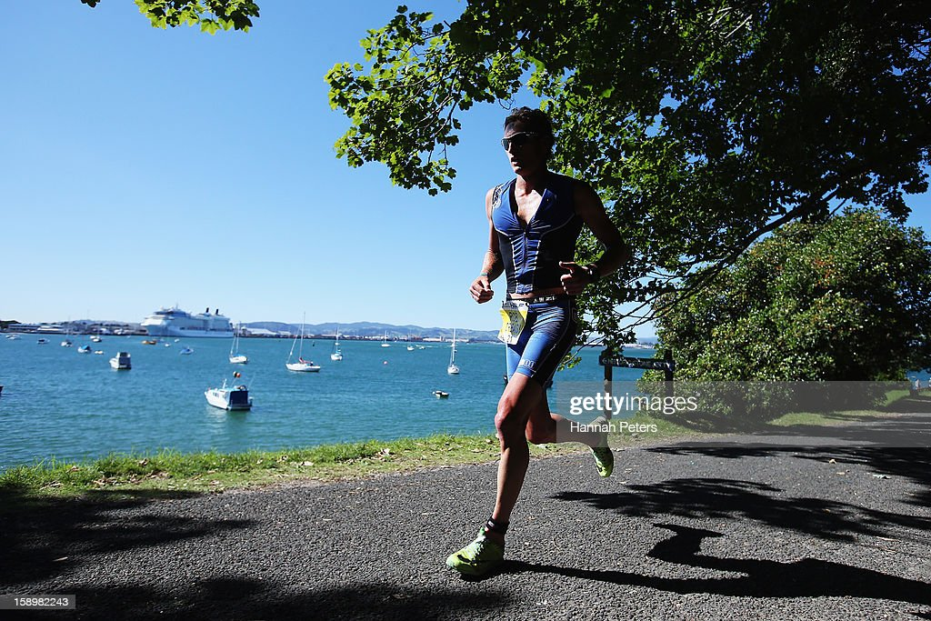 Rob Creasy of New Plymouth competes in Elite Men's race during the Port of Tauranga Half Ironman on January 5, 2013 in Tauranga, New Zealand.
