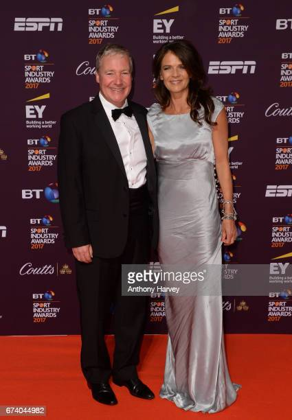 Rob Curling and Annabel Croft pose on the red carpet during the BT Sport Industry Awards 2017 at Battersea Evolution on April 27 2017 in London...