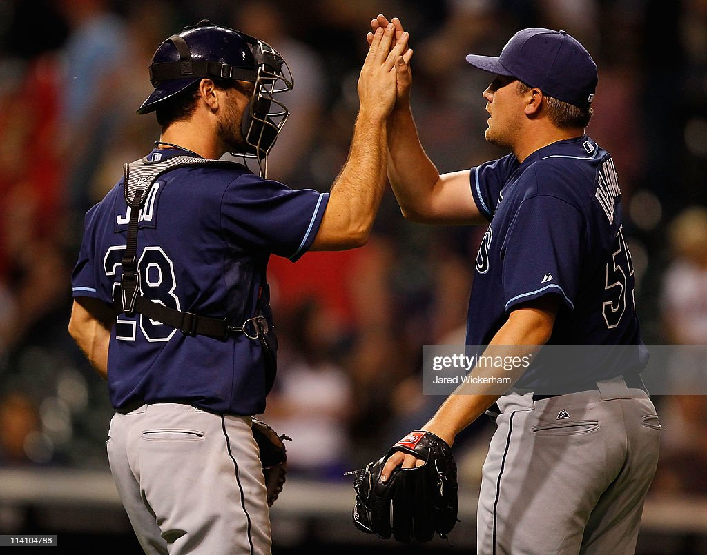 Rob Delaney #55 of the Tampa Bay Rays celebrates with teammate <a gi-track='captionPersonalityLinkClicked' href=/galleries/search?phrase=John+Jaso&family=editorial&specificpeople=4951282 ng-click='$event.stopPropagation()'>John Jaso</a> #28 after their win against the Cleveland Indians on May 11, 2011 at Progressive Field in Cleveland, Ohio.
