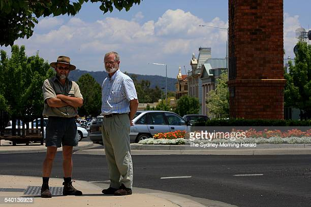 Rob Duffy right President of the Mudgee Business Association and Russell Holden Vice President left on the main road of Mudgee in western New South...